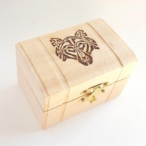 Celtic Wolf Small Latched Wooden Box, Trinket Box